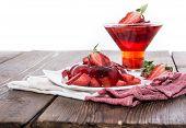foto of jello  - Fresh made Strawberry Jello with fresh fruits isolated on white - JPG