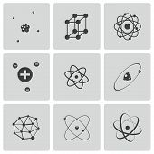 stock photo of neutrons  - Vector black atom icons set on white background - JPG