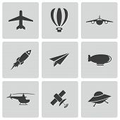 picture of propeller plane  - Vector black airplane icons set on white background - JPG