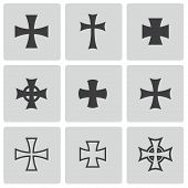 stock photo of maltese-cross  - Vector black choppers crosses icons white background - JPG