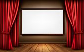 stock photo of audience  - Background with red velvet curtain and a wooden floor - JPG