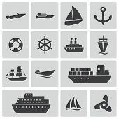 image of brigantine  - Vector black ship and boat icons set on white background - JPG