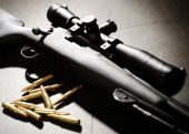 picture of snipe  - Sniper Rifle and bullets in a studio setting on a black background