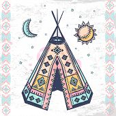 stock photo of wigwams  - Tribal vintage native American set of symbols - JPG