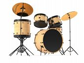 stock photo of drum-kit  - wooden drums isolated - JPG