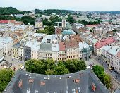 Panorama Of Lvov Old Town And With Market Square From The City Hall Tower, Western Ukraine