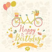 stock photo of tandem bicycle  - Happy birthday card in bright colors with tandem bicycle - JPG