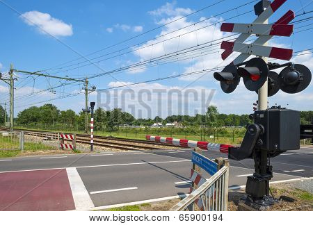 Closed barriers of a rail crossing
