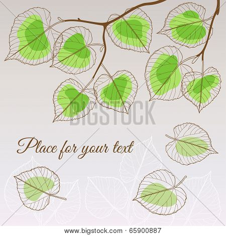 Linden leaf green style with place for your text