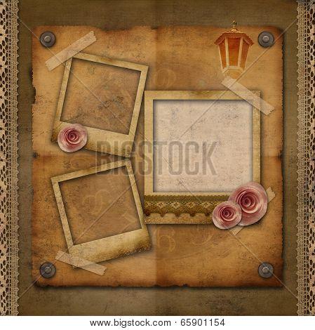 Old paper frames over Vintage Texture Background
