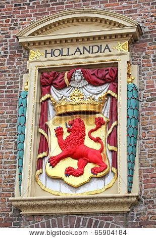 Symbol Hollandia On The Building In The City The Hague, Netherlands