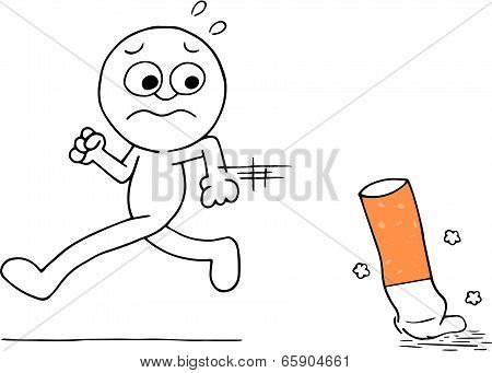Man Running Away From Cigarette
