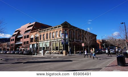 Visitors Visit The Downtown Areas Of Boulder, Colorado
