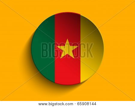 Flag Paper Circle Shadow Button Cameroon