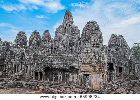 Ancient Bayon Temple With Stone Heads