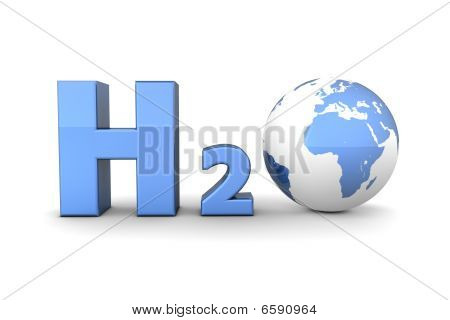 Global Hydrogen Oxide H2O - Shiny Blue