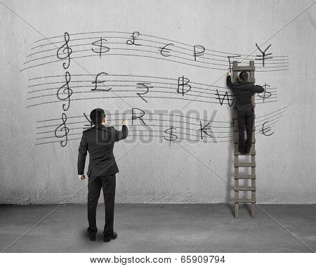 Conducting And Another Man Drawing Money Stave On Wall