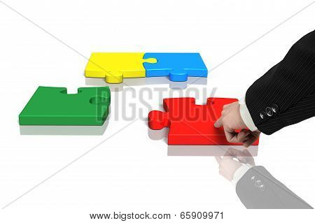 Assembling Four Puzzles With Reflection