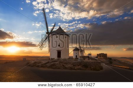 Windmills At Sunset, Consuegra, Castile-la Mancha, Spain