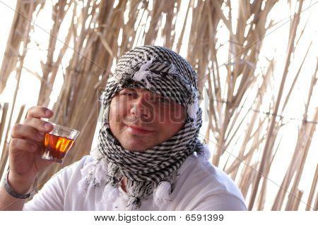 Man Drinks Bedouin Tea