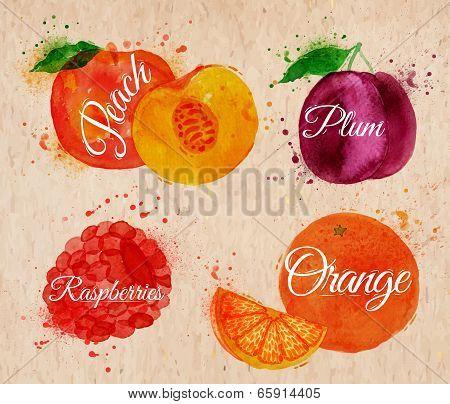Fruit watercolor peach, raspberry, plum, orange in kraft