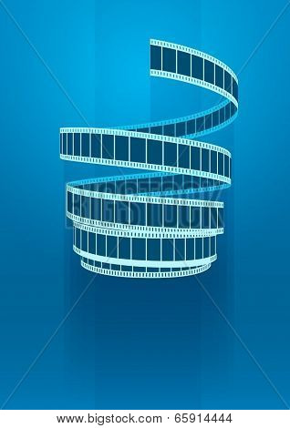 Concept sign cinematograph film tape. Eps10 vector illustration. On blue background