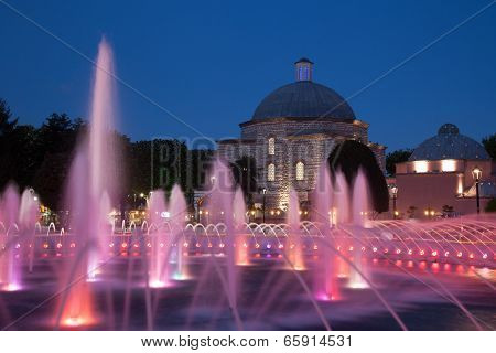 bath and fountain at night
