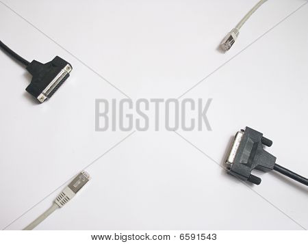 Cables Sideway On The White Background