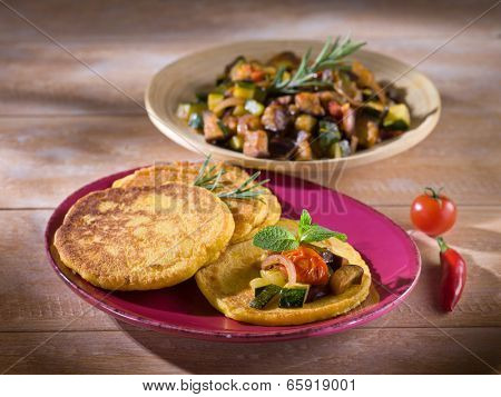 maize flapjack with vegetables
