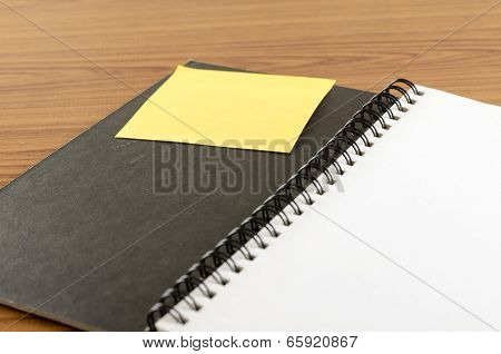 Open Notebook With Sticky note