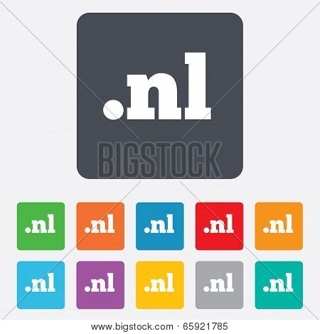 Domain NL sign icon. Top-level internet domain