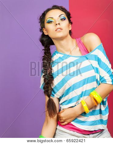 Portrait Of A Beautiful Model With Creative Dynamic Multicolor Make Up