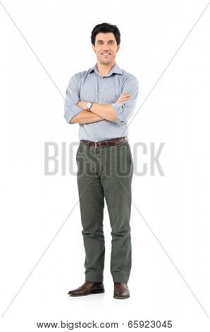 Portrait Of Satisfied Businessman Looking At Camera Isolated White Background