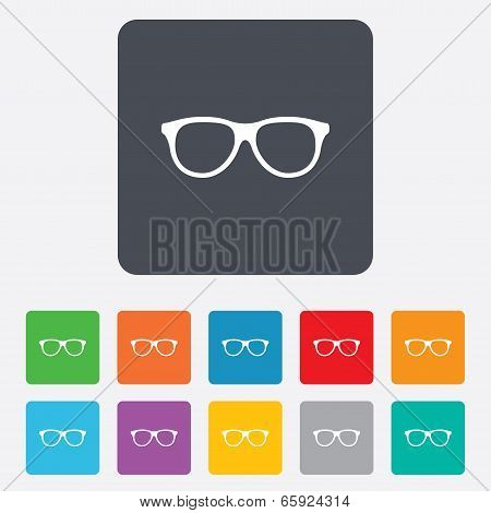 Retro glasses sign icon. Eyeglass frame symbol.