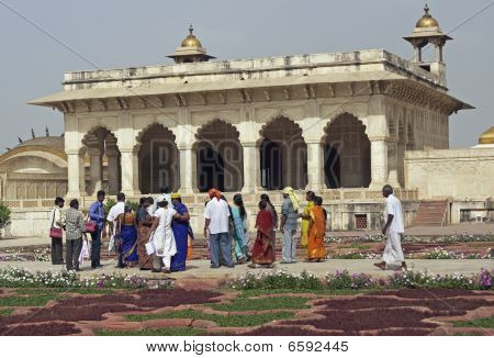Indian Tourists at the Red Fort in Agra