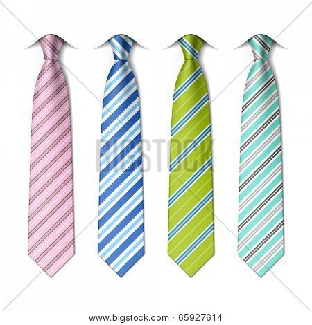 Striped neckties template.  Easy editable colors - vector.