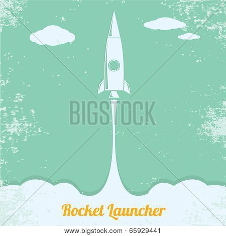 vintage style retro poster of Rocket launcher