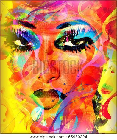 Modern digital art image of a woman's face