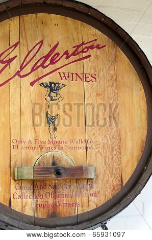 Barossa Valley, South Australia – May 29, 2014: Old Traditional Wooden Promotional Barrel Sign For E