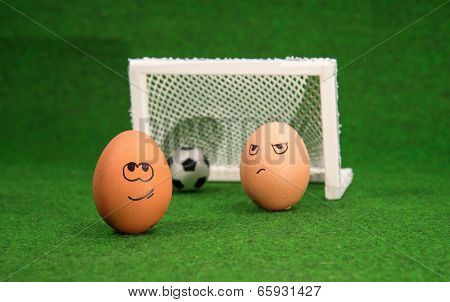 funny eggs and football