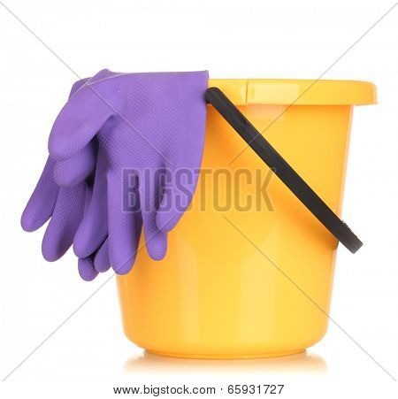 Bucket and gloves for cleaning isolated on white