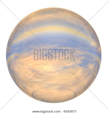 3d blue and yellow sphere isolated on white
