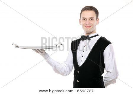Battler Holding  A Silver Tray