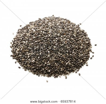 pile of chia seeds isolated on white background