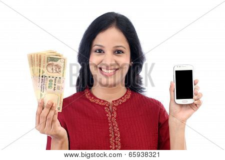 Young Woman Holding Indian Currency And Mobile Phone