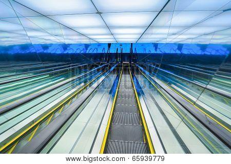 Futuristic Downward Escalator