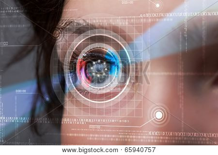 Modern cyber woman with technolgy eye looking