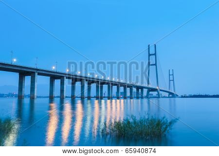 Jiujiang Yangtze River Highway Bridge In Nightfall
