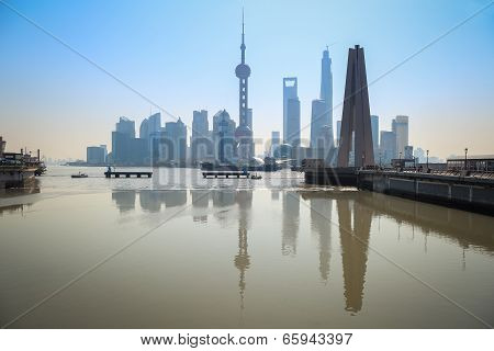 Shanghai Skyline Reflection In River