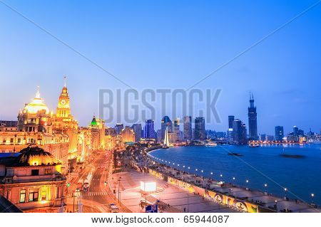 Beautiful The Bund Of Shanghai In Nightfall